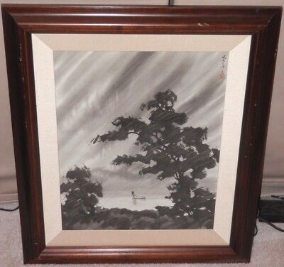 OLD Japanese Asian Fine Art Watercolor PAINTING Original vitnage artwork signed