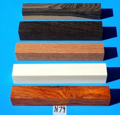 5 Pen Blanks Cocobolo~Holly~Lacewood~Wenge & Ziricote~Exotic Wood Lumber