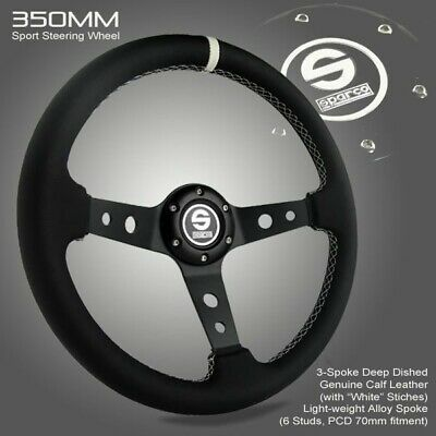 Motocorsa Stage Rally 350mm 90mm Deep Dish 70mm PCD Steering Wheel Car Parts Black Spokes