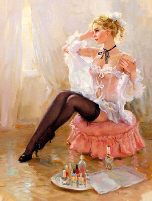 Woman wearing black stockings oil painting HD printed on canvas L1873
