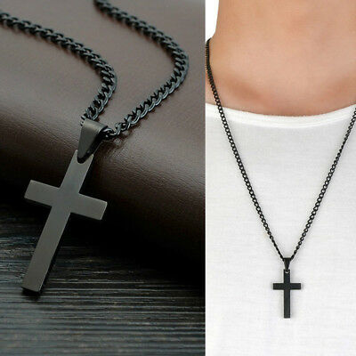 Men Women Stainless Steel Jesus Cross Pendant Chain Necklace Jewelry Black Prett