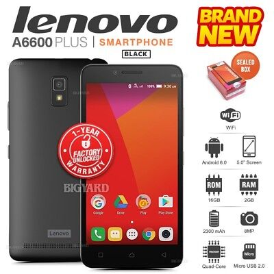 New Factory Unlocked LENOVO A6600 Plus A6600a40 Black Dual SIM Android Phone