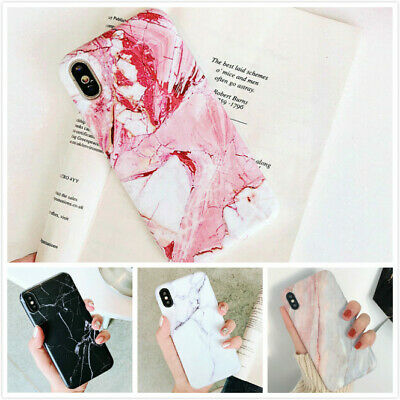 Cute Marble Stone Pattern Soft TPU Matte Back Case Protective Covers for iPhones