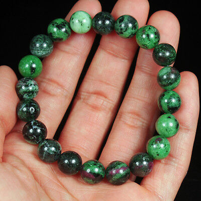 154Ct 100% Natural Red Green Bi Color Ruby In Zoisite Beads Bracelet BRG391