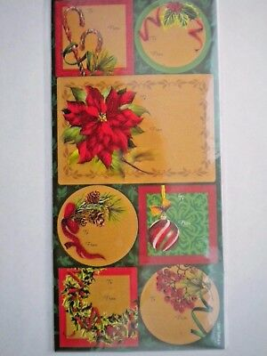 PACKAGE OF 21 SELF-ADHESIVE GLITTER/FOIL CHRISTMAS GIFT TAGS ~ You Choose