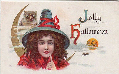 Halloween Witch With An Owl Original Antique Postcard
