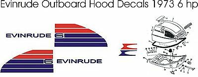 Evinrude Outboard Hood Decals 6 hp 1973