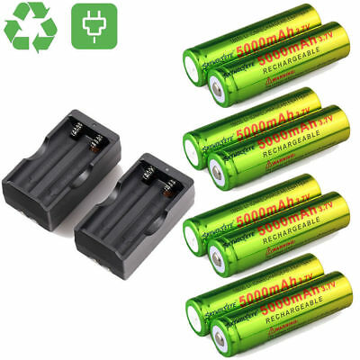 Skywolfeye 18650 Battery 5000mAh 3.7V Li-ion Rechargeable Batteries Cell Charger