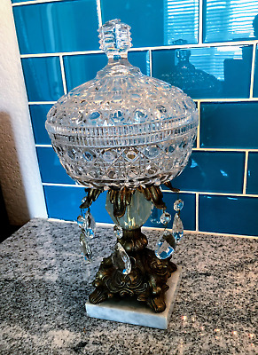 Antique cut glass with Gold Tone Compote with Crystals and Lid on Marble Base