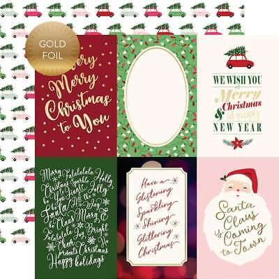 """Merry & Bright Gold Foiled Double-Sided Cardstock 12""""X12"""" 4""""X6"""" J 752830047976"""