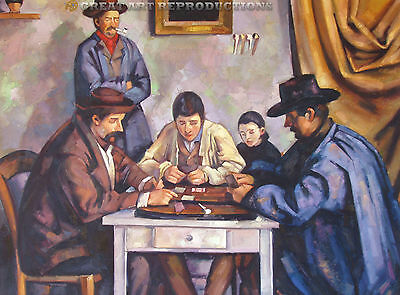 """""""Card Players"""", Paul Cezanne, Reproduction in Oil, 48""""x36"""""""