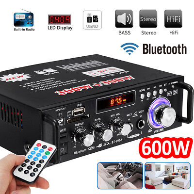 600W Digital Amplifier HIFI Bluetooth Stereo Audio AMP SD USB FM Mic Car