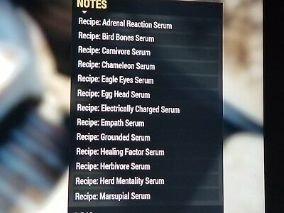 fallout 76 all 19 mutation serum recipes! best deal - ps4