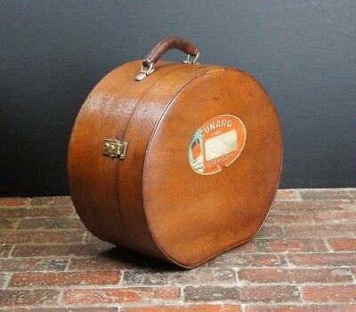 Beautiful Vintage Round Leather Hatbox Cunard Luggage Label