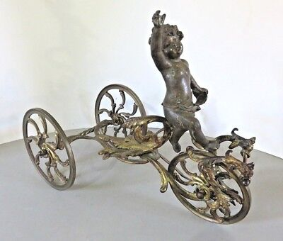 Antique Georgian Gilded Bronze Ormolu Cherub Pulling Carriage - Salt / Bon Bon ?