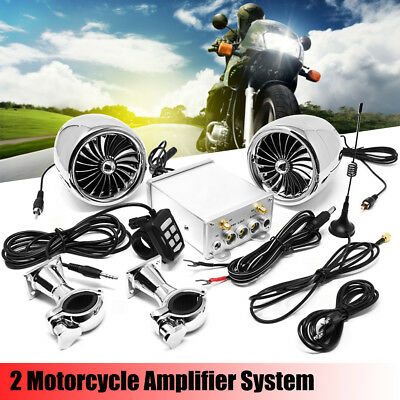 600W Amplifier Bluetooth Motorcycle Stereo Speaker System AUX Radio For Harley
