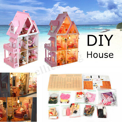 Large Wooden Play Dollhouse Mansion Furniture Kids Girls Doll House For Barbie