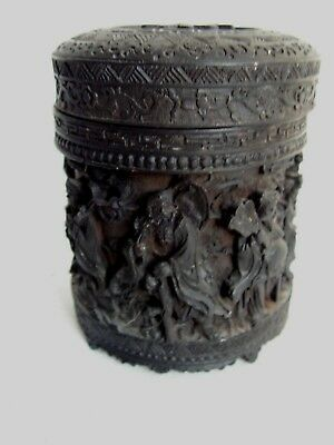 Vintage Carved Resin Chinese Tea Caddy