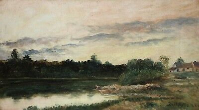 Charles Daubigny (1817-1878) Signed French Barbizon Oil On Canvas - Washerwoman