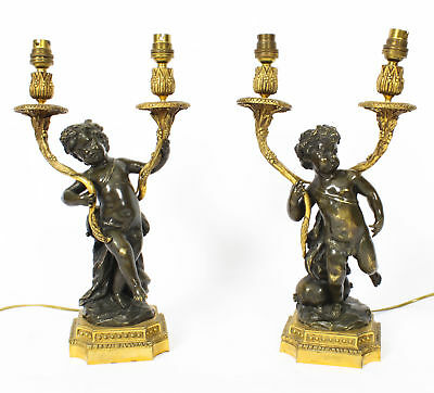 Antique Pair French Ormolu & Patinated Bronze Cherubs Table Lamps 19th C