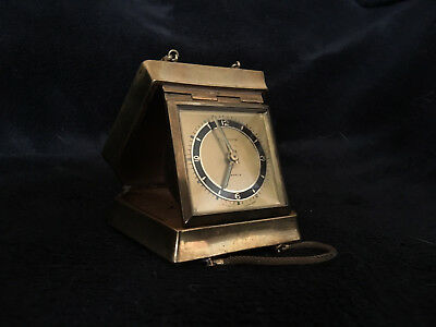 Vintage Europa 7 Jewels Brass Purse Travel Alarm Clock in great condition