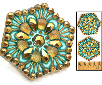 SHINING 27mm Vintage Czech Glass Turquoise Lacy HEXAGON Nailhead Buttons 2pc