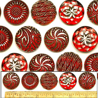27mm Vintage Czech Glass Red RUBY Silver Shankless No Shank Buttons Cabochons 5