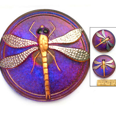 HUGE Focal 40mm Shimmering RAINBOW PURPLE AB 3D DRAGONFLY Czech Glass Button 1pc