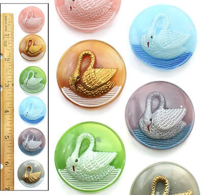 REDUCED PRICE! 27mm Vintage Czech Glass Moonglow SWAN Bird Buttons 6pc 6COLORS