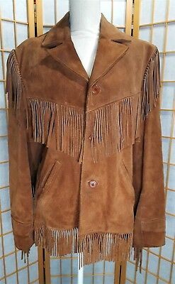 Vintage Berman's Men's 40 Suede Leather Fringe Jacket