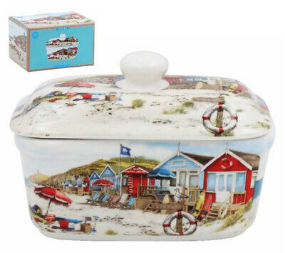 Seaside Beach Summer Scene China Butter Dish with Lid Ceramic Dining Table Gift