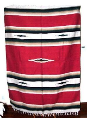 Mexican Blanket Throw Diamond Center 5'x7' Woven Southwestern New RED