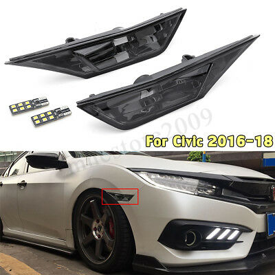 Fits For 2016 2017 2018 Honda Civic Smoked Lens Side Marker Signal Lights Lamp