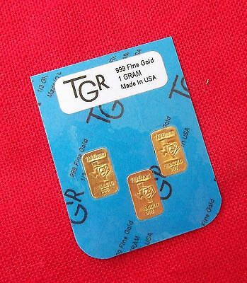Gold 1 Gram 24K Pure Tgr Bullion Bars 999.9 The Perfect Preppers Combo Pack !!