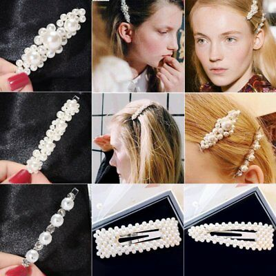Women Pearl Hair Clip Snap Barrette Stick Hairpin Hair Accessories Party Gifts