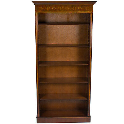 Antique Style Narrow Tall Mahogany Adjustable Bookcase Bookshelf Bookshelves