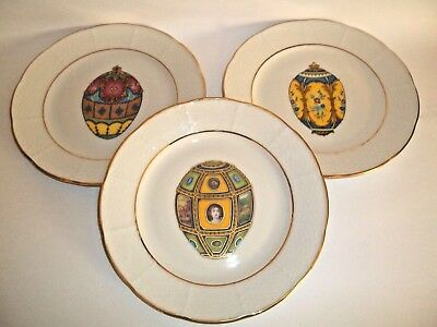 Three Email de Limoges FABERGE EGG Plates