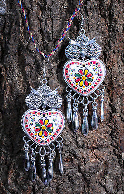 Silver Plated Indian Bollywood Afghani Brass Earrings Handmade Tribal Hoop Gypsy