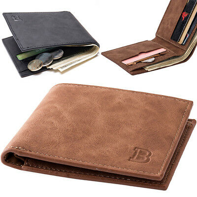 Men's Leather Billfold Slim Wallet ID Credit Card Holder Money Clip Purse