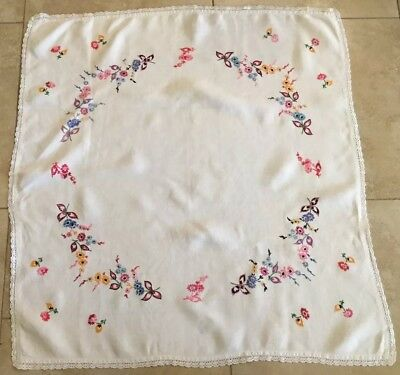 Vintage Tablecloth, Linen, Embroidered Flowers And Leaves, Off White, Blue, Pink