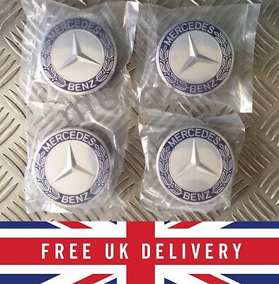 4 x Blue Mercedes alloy wheel center cap 75mm A B C E S ML AMG New Set Hub Class