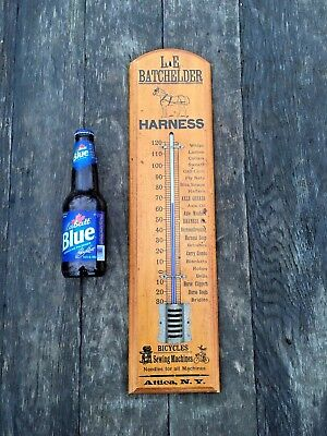 Antique Advertising Thermometer Leather Harness Shop Bicycles Horses/ Ferrier NR