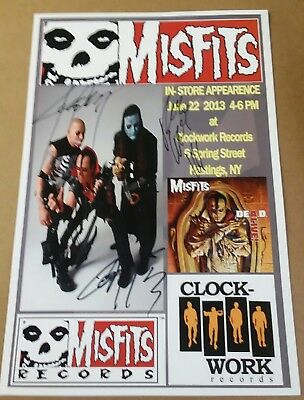MISFITS 2013 In Store appearence Poster SIGNED by full band Jerry Dez Black Flag