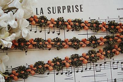 1y VTG FRENCH ORANGE OLIVE CHENILLE ROCOCO ROSETTE FLOWER JACQUARD RIBBON TRIM