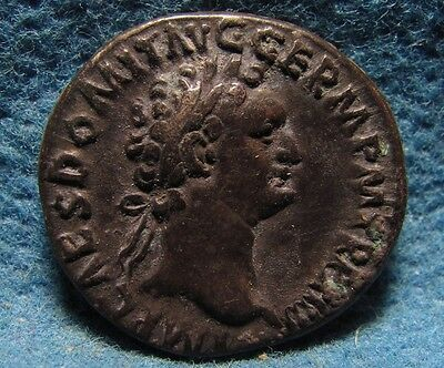 DOMITIAN 81-96AD. Denarius. AR Ancient Roman imperial Uncleaned silver coin.