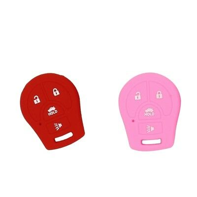 Pack of 2 Remote Keyless Car Key Fob Rubber Cover Case for Nissan Red+Pink