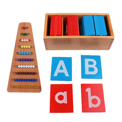 2 Set Color Bead Stairs & 26 Alphabet Letter, Wooden Toy Kids Training Aids