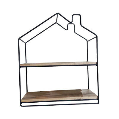 House Shaped Iron Wooden Wall Shelf Display Rack Shelf Storage Unit 1 Black