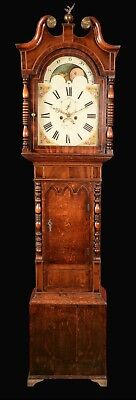 Antique Inlaid Mahogany Moon Phase Longcase Grandfather Clock