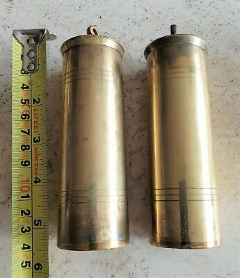 Clock Weights Cylinder Brass Lead Filled 1700g Vintage With Hooks